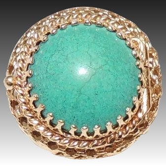 14K Turquoise Vinaigrette, Pill Box Pin / Brooch, Yellow Gold