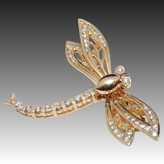 14K Diamond Dragonfly Trembler Brooch / Pin, En Tremblant