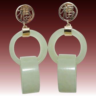 Vintage 14K Devil's Work Jade Double Loop Earrings, 14kt Yellow Gold, Jadeite