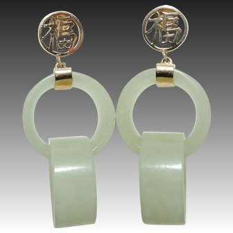 Vintage 14K Devil's Work Jade Double Loop Earrings, 14kt Yellow Gold, Jadeite