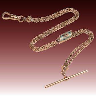 """10K Rose Gold Victorian Watch Chain, Blue Enamel & Pearl Slide, 9&3/8"""""""