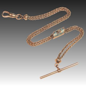 10K Rose Gold Victorian Watch Chain, Blue Enamel & Pearl Slide, 9&3/8""