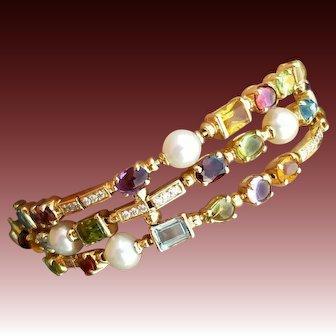 Exceptional Quality 18K Diamond & Gemstone Bracelet, In the style of Bulgari Allegra
