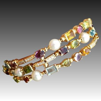 Exceptional Quality 18K Diamond & Gemstone Bracelet, In the style of Bulgari Allegra