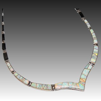 Navajo Elvira Yazzie Opal & Sterling Choker, Necklace, Touch of Santa Fe, Native American