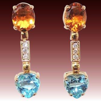 18k Citrine, Diamond & Blue Topaz Heart Drop Earrings, Pierced, Post