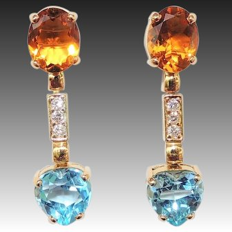 18k Citrine, Diamond & Blue Topaz Heart Drop Earrings, Pierced, Post