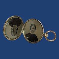 Civil War Era Pocket Watch Style Photo Locket, Ambrotype or Tintype, Mother & Daughter