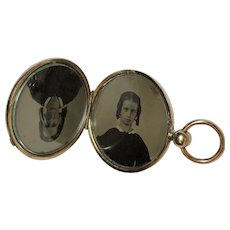 Civil War Era Pocket Watch Style Photo Locket, Ambrotype or Tintype, Mother & Daughter