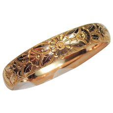 Victorian, Edwardian Rose Gold Filled Hinged Bangle Bracelet, Repousse Floral, JJS, HY Mono