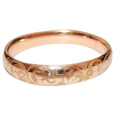 Victorian, Edwardian Gold Filled Hinged Bangle Bracelet, Floral Engraved, GF