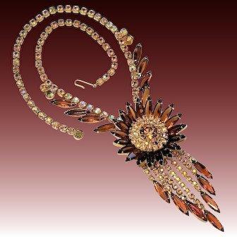 D&E Juliana Sunburst Medallion Necklace, Topaz, Aurora Borealis, Book Piece