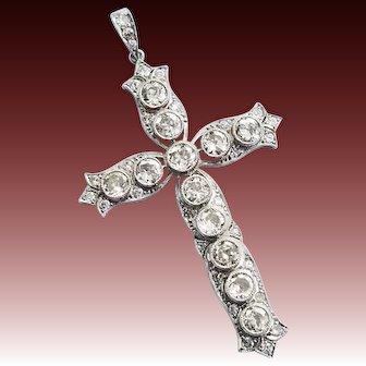 "Edwardian, Deco Platinum & Diamond 2"" Cross Pendant 3+ ctw"