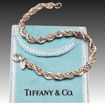 Tiffany & Co Sterling & 14k Rope Chain Bracelet