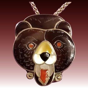 Zuni Bernice Leekity, Sterling Bear Pendant, Brooch, Necklace, Silver Inlay