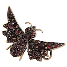 Bohemian Garnet Batwing Butterfly, Moth, Insect Brooch, Pin, Antique, Victorian