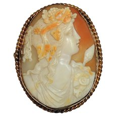 Antique Signed Cameo, Bacchus, Dionysus, Carved Shell Brooch, Pin, Pendant