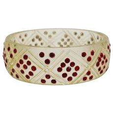 "Art Deco Celluloid Ruby Red Rhinestone 1"" Bangle Bracelet, Diamond Pattern"