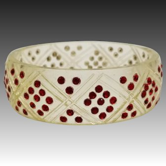 "Art Deco Celluloid Ruby Red Rhinestone 1"" Bangle Bracelet, Diamond Pattern"