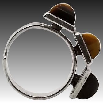 Uni David Andersen by Marianne Berg, Modernist Sterling Tiger Eye Ring