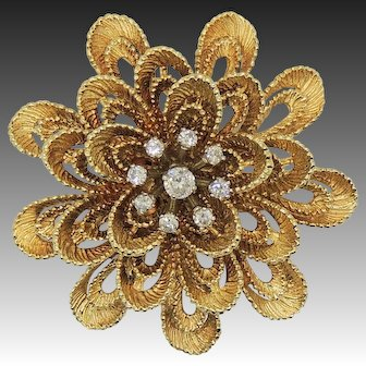 Vintage 14k Diamond Layered Flower, Chrysanthemum, Slide, Pendant, Brooch, Pin, Enhancer