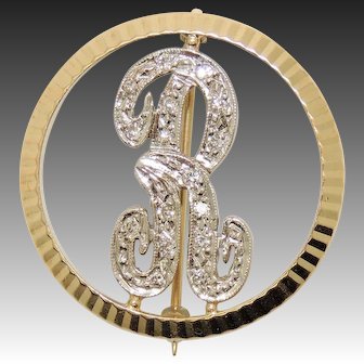"14K ""R"" Monogram Diamond Brooch, Pin, Initial, Letter"