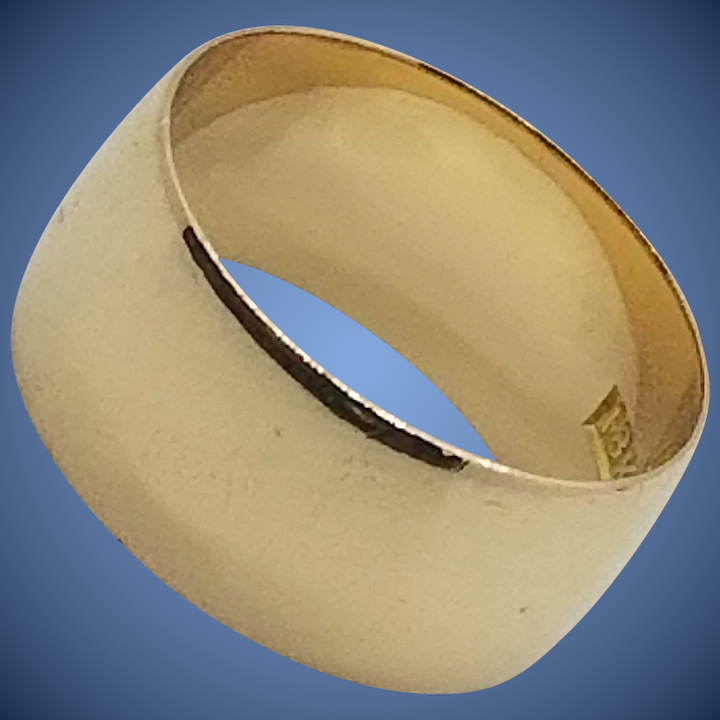 59fef2fc033a6 Vintage 18k 10mm Wide Wedding Ring/Band, Unisex, 18kt Yellow Gold, 8.7  grams, sz 9.5