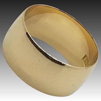 Vintage 18k 10mm Wide Wedding Ring/Band, Unisex, 18kt Yellow Gold, 8.7 grams, sz 9.5