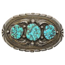 Large Native American Turquoise Belt Buckle, Sterling, Navajo, Signed