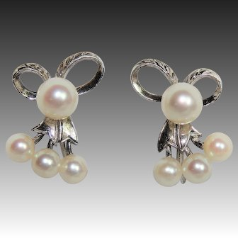 Vintage Mikimoto Akoya Pearl Earrings, Sterling Silver Screw Back, Engraved Bows