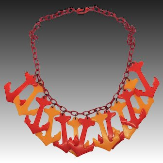 Vintage Bakelite Anchor Necklace, Red & Gold, Celluloid Chain, Catalin