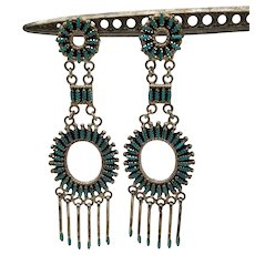 """Zuni Needlepoint Earrings, Sterling & Turquoise, 3"""", Native American"""