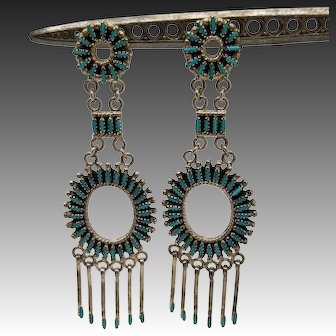 "Exceptional Zuni Needlepoint Earrings, Sterling & Turquoise, 3"", Native American"