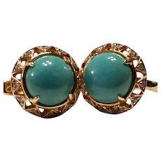14k Gold Turquoise & Diamond Earrings, Latch Back Pierced