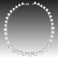 "Art Deco Sterling Silver Open Back Crystal Necklace, 15"" Riviera"