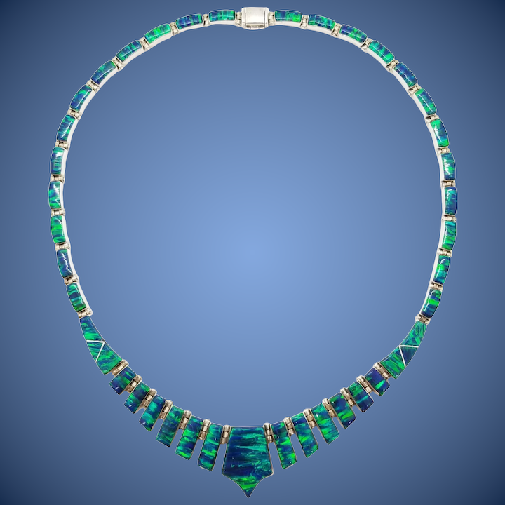 876b7cca5850b 950 Sterling Silver Peacock Blue / Green Opal Necklace, Collar