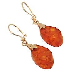 14k Gold Baltic Amber Drop Earrings, Pierced Kidney Wire, Russian, Transparent
