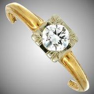 Circa 1940's 14K Yellow Gold Diamond Engagement Ring