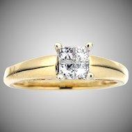 Modern Estate 14K Princess Cut Diamond Engagement Ring