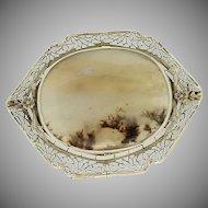Art Deco 14K White Gold Filigree Moss Agate Pin