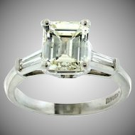 Gorgeous Handmade Platinum and  Emerald Cut Diamond Engagement Ring