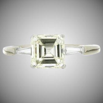 Vintage 14K Square Step Down Diamond Engagement Ring