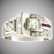 Art Retro Platinum, Diamond & Ruby Buckle Ring