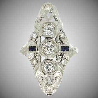 Art Deco 18K Diamond & Synthetic Sapphire Ring