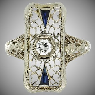 Art Deco 14K Filigree Diamond & Synthetic Sapphire Ring