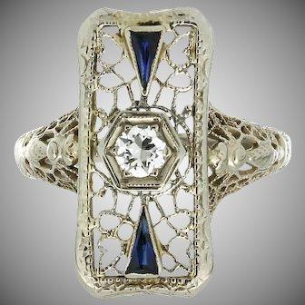 Art Deco 14K Filigree Diamond & Synthetic Sapphire Ring