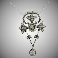 Georgian 18K Yellow Gold & Sterling Silver  Rose Cut Diamond Necklace