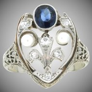 Art Deco 18K White Gold Sapphire Diamond & Seed Pearl Ring