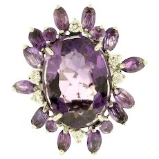 14K White Gold Handmade Amethyst and Diamond Ring