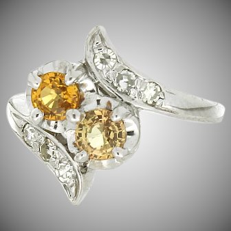 Vintage 1940's 14K Diamond & Yellow Sapphire Bypass Ring